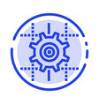 setting gear computing line blue dotted line line vector image