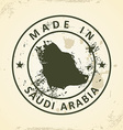 Stamp with map of Saudi Arabia vector image vector image