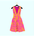 summer dress with floral print vector image vector image