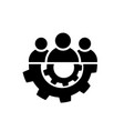 teamwork icon in flat style team and gear symbol vector image vector image