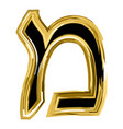 the golden letter mem from the hebrew alphabet vector image vector image
