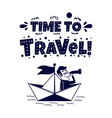 travel icon happy man traveling by paper boat vector image vector image