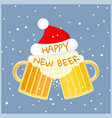 two beer glasses in christmas hat toast cheers vector image