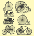 vintage bicycle drawings vector image vector image