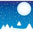 winter landscape night moon vector image
