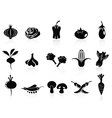 black vegetable icons set vector image