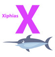 funny alphabet with cartoon animal purple letter x vector image