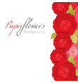 paper flower background with red roses with green vector image
