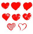 set of grunge hearts set of grunge hearts vector image