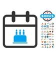 Birthday Flat Icon with 2017 Year Bonus vector image vector image