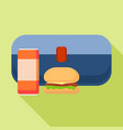 blue burger lunchbox icon flat style vector image