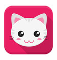 Cat flat app icon with long shadow vector image vector image