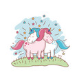 character unicorn couple loving meadow vector image vector image