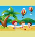 children having fun on the beach vector image vector image
