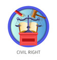 civil right subject studies themed concept logo vector image