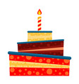 colorful cartoon birthday 3 layer cake vector image vector image