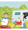 couple outdoor grilling meat vector image vector image