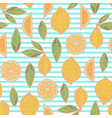 cute lemon seamless pattern on stripe vector image