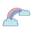 cute rainbow clouds cartoon fantasy design vector image