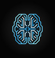 digital smart brain blue line icon on dark vector image