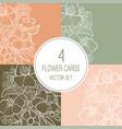 doodle floral cards set vector image
