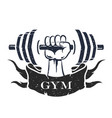 dumbbell in hand symbol vector image vector image