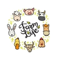 farm animals doodle style circle frame vector image