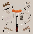 fork with grill sausage isolated on grey vector image vector image