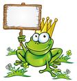 frog with signboard vector image vector image