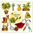 Gardening Sketch Set Colored vector image