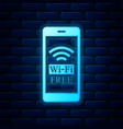 glowing neon smartphone with free wi-fi wireless vector image vector image