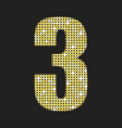 gold sequins number - three glitter font vector image