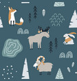 hand drawn seamless pattern with fox goat elk vector image vector image