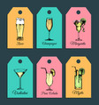 hand sketched alcoholic cocktails glasses tags vector image vector image