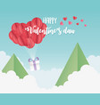happy valentines day origami paper balloons hearts vector image