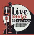 live music poster with guitar and microphone vector image vector image