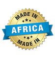 made in Africa gold badge with blue ribbon vector image vector image