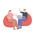 man and woman sitting with laptop isolated design vector image vector image