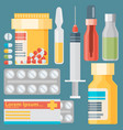 medicine and drugs icons set with long shadows vector image vector image