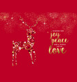 merry christmas gold luxury deer greeting card vector image vector image