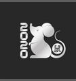metallic white rat is symbol 2020 chinese vector image