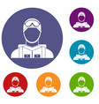 military paratrooper icons set vector image vector image