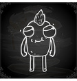 Monster with Mohawk Drawing on Chalk Board vector image vector image