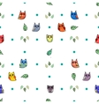 Owl and leaves seamless pattern vector image