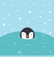 penguin cartoon swimming in water vector image