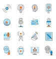 Podcast icons flat line set vector image