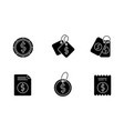 price tags black glyph icons set on white space vector image