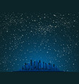 realistic starry sky with blue glow shining stars vector image
