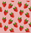 red strawberry with green leaves seamless pattern vector image
