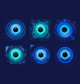 set isolated eyes scanner eyeball recognition vector image vector image